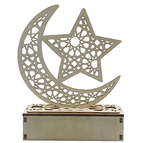 Heall Eid Mubarak Dekorationen Islam Ramadan Party Supplies Moonlight Moon Lamp hölzerne Fertigkeit mit LED-Art-6 Ramadan Versorgung