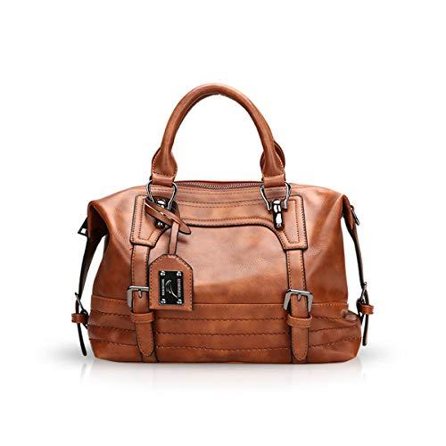 NICOLE & DORIS Fashion Öl Wachs Frauen Handtaschen Umhängetasche Diagonal Tasche Umhängetasche Messenger Bags Mädchen Handtaschen Boston Taschen Braun