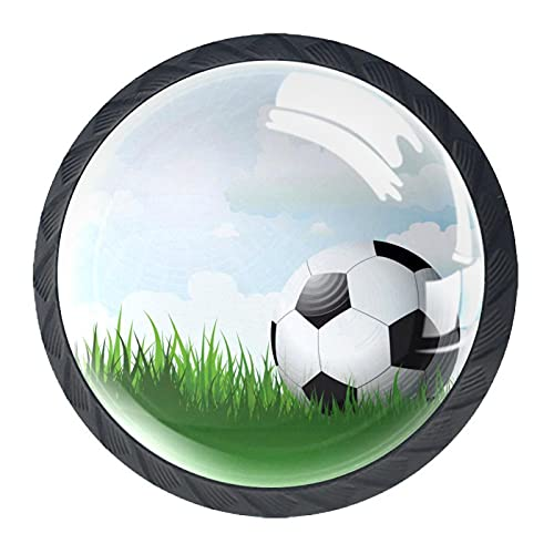 Black Dresser Knobs Soccer Football Grass Cabinets Handles Crystal Clear Glass Round Black Drawer Pullsfor Dressers Wardrobes Bedside Table Nightstand Bookcase 4 Pack