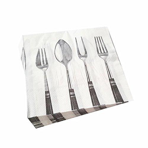 WallyE Luncheon servetten in lepel en vork ontwerp, ideaal voor familie partij of restaurant gebruik, 20 Pack