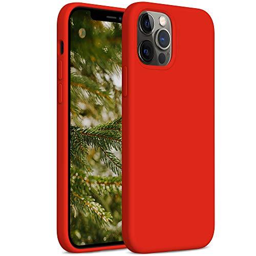 YATWIN Funda de Silicona Compatible con iPhone 12 Pro MAX 6,7', Carcasa iPhone 12 Pro MAX Case,Carcasa de Sedoso-Tacto Suave, Protección Funda Protectora 3 Tapas Estructura, Rojo