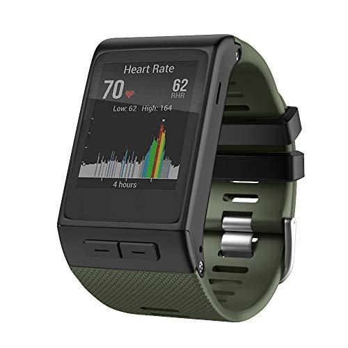 Anbest, cinturini compatibili con Vivoactive HR, in morbido silicone di ricambio con adattatore, compatibile con Vivoactive HR Smart Watch Premio, verde militare