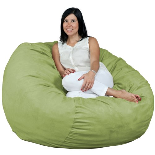 FUGU Bean Bag Chair, Premium Foam Filled 4 XL, Protective Liner Plus Removable Machine Wash Lime Green Cover