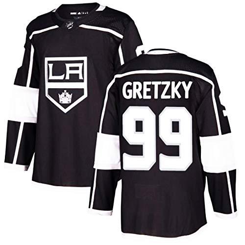 # 99 Gretzky Los Angeles Kings Schwarz Sweatshirts Eishockey Trikots, Paar Hemden Gestickte Jersey Souvenir Sportatmungsaktiv T-Shirt Long Sleeve Top-Weste,Schwarz,XXL