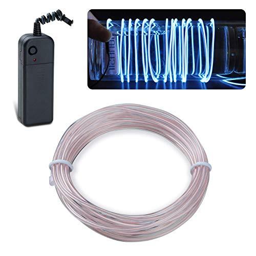 Lychee Flexibel 15 ft 5 m Neon Beleuchtung Draht Lichtschlauch Leuchtschnur EL Kabel Wire mit 3 Modes für Partybeleuchtung (Weiß)