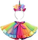 CARNAVALIFE Disfraz de Conjunto Unicornio Falda de Tul y Diadema Floral (color al azar) (Pack A/ unicornio)