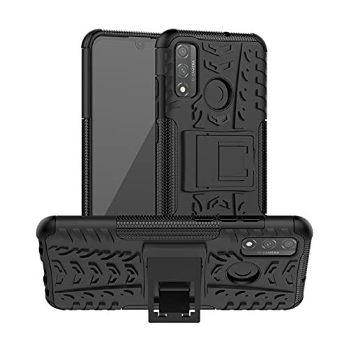 Byr883onJa Funda protectora para Huawei P Smart (2020) Textura de los neumáticos a prueba de golpes TPU + PC Funda protectora con soporte para teléfono (color: negro)