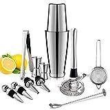 Juego de 13 piezas de acero inoxidable mezclador de vino y cócteles, juego de barras de herramientas para el hogar y el bartending profesional