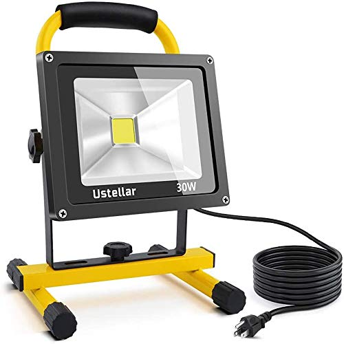 Ustellar 2400LM 30W LED Work Light (200W Equivalent), Waterproof Portable LED Flood Lights, Job Site Lighting with Stand for Construction Site, Workshop, 16ft/5M Cord with Plug, 6000K Daylight White