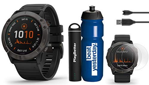 Check Out This Garmin Fenix 6X Pro Solar (DLC with Black Band) Premium Bundle | Includes Garmin Wate...