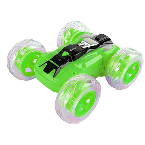 360° Rotating Stunt Car Model LED Light 4 Wheel Drive High Speed Remote Control Off-road Toy Whirling Climbing Car (Green)