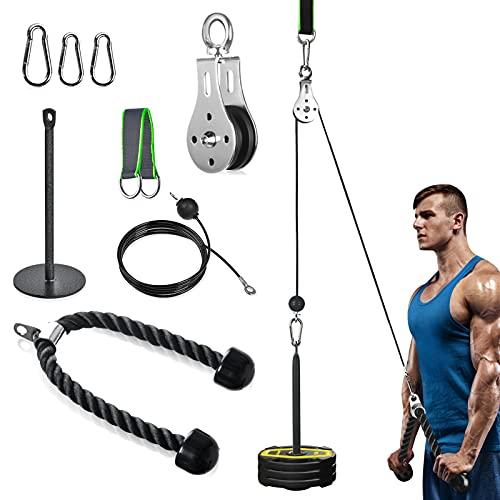 Sistema de Cable da Polea Gimnasio de Fitness per LAT Pull Down y Liftup, 2m DIY Equipo con Asas y Placa de Carga per Ejercicios en Casa de Musculación, Bíceps, Tríceps, Hombros, Espalda