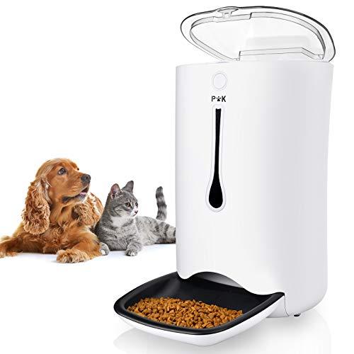 PUPPY KITTY 6.5L Automatischer Futterautomat für Katze und Hund, Automatischer Futterspender mit Timer mit bis zu 4 Mahlzeiten am Tag,LCD Bildschirm und Ton-Aufnahmefunktion
