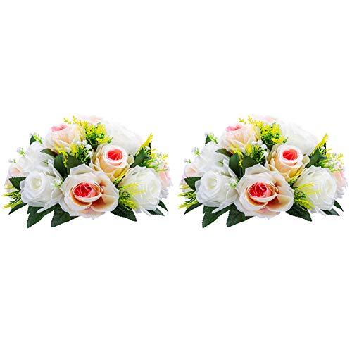 Nuptio 2 Pièces Fleurs Artificielles, 15 Têtes de Roses Plastique avec Base, Convient au Centre de la Table Mariage Notre Magasin pour Les Fêtes Décoration de Saint Valentin(Champagne Rose&Blanc)