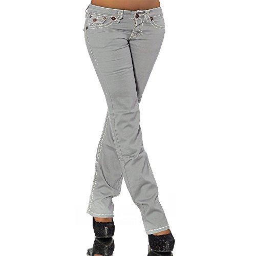 Damen Bootcut Jeans Hose Damenjeans Hüftjeans Gerades Bein Dicke Naht Nähte H922, Größen:42 (XL), Farben:Grau