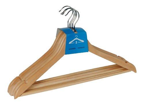 WENKO Formbügel Eco 5er Set - 5er Set Kleiderbügel , Hosensteg, Rockeinkerbungen, Holz, 45 x 23.5 x 1.2 cm, Braun