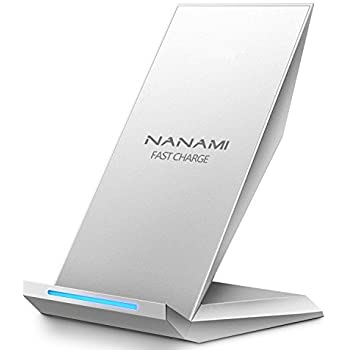 NANAMI ワイヤレス急速充電器 Qi認証済み iPhone 12/12 Pro/SE (第2世代) /11 / 11 Pro / Xs / XR / Xs Max / X / 8 / 8 Plus、Galaxy S20 /S10 /S10+ /S9 /S9+ /S8 /S8+ / Note 10 / Note 9 / S7 / S7 Edge Sony Xperia 1 Ⅱ/XZ3 他Qi対応機種 Quick Charge 2.0/3.0 qi 充電器 置くだけ充電 2コイル 15W/10W/7.5Wワイヤレスチャージャー 銀