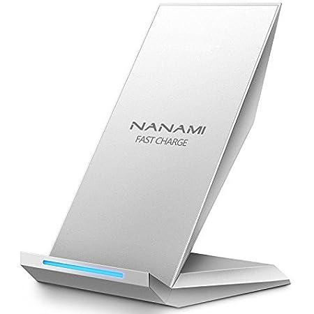 NANAMI ワイヤレス急速充電器 Qi認証済み iPhone 12/12 Pro/SE (第2世代) /11 / 11 Pro / Xs / XR / Xs Max / X / 8 / 8 Plus、Galaxy S20 /S10 /S10+ /S9 /S9+ /S8 /S8+ / Note 10 / Note 9 / S7 / S7 Edge Sony Xperia 1 Ⅱ/XZ3 他Qi対応機種 Quick Charge 2.0/3.0 qi 充電器 置くだけ充電 2コイル 15W/10W/7.5Wワイヤレスチャージャー 銀