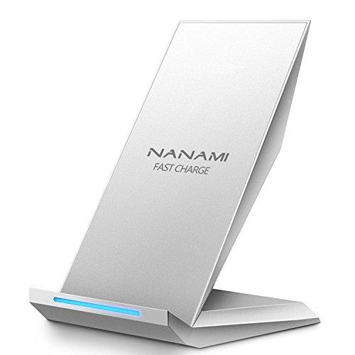NANAMI ワイヤレス充電器 (2021年改善版) USB Type-C端子 15W/10W/7.5W 急速 (Qi認証済み) iPhone 12/12 Pro/SE2 /11 / 11 Pro / Xs / XR / Xs Max / X / 8 / 8 Plus、Galaxy S21/S21 Ultra /S20 /S10 /S10+ /S9 /S9+ /S8 /S8+ /Note10 /Note 9 Sony Xperia 1 Ⅱ/XZ3 Qi機能搭載 各機種対応 Quick Charge 2.0/3.0 ワイヤレスチャージャー 置くだけ充電 スタンド 夏のギフト 銀