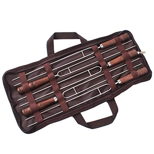 UKtrade® Brocheta Kabob de 40,64 cm con mango de madera para barbacoa, camping, utensilios de cocina y parrilla, acero inoxidable, 5 unidades