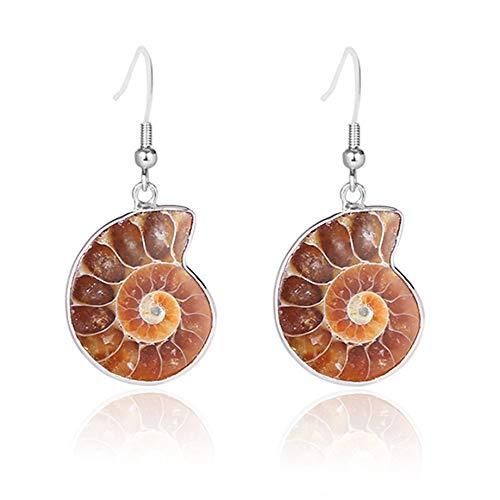 XTT Earrings Hoops Studs Natural Stone Pendant Dangle Hook Earring for Women Ammonite Spiral Whorl Conch Shell Fossils Earrings Girls Jewelry