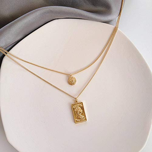 N-B Necklace Female Fashion Wild Metal Texture Retro Gold Coin Necklace Female...