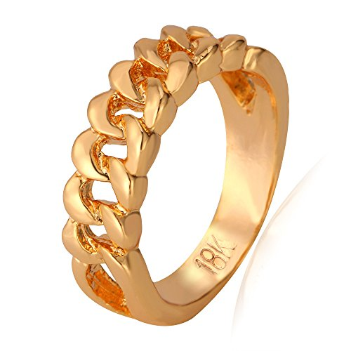 U7 Men Women 18K Gold Plated Half Cuban Link Design Band Ring, Size 7 (with Gift Box)