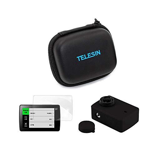 TELESIN Accessori Kit 3 in 1 MINI Borsa Custodia Protettiva, Custodia Silicone e Cover Copriobiettivo, Protezione Pellicola per lo Schermo e Lenti per Xiaomi YI 4K/4K+/YI LITE Action Camera