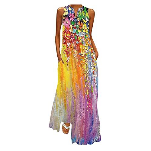 LOPILY Damen Kleider Schmetterling Druckkleid Hippie Lange Tunika Kleid Große Größen Bunte Abendkleider Elegant Cocktailkleid Sexy...