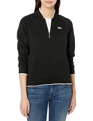 Obey Damen Libby Half Zip Crew Neck Sweatshirt, schwarz, Mittel