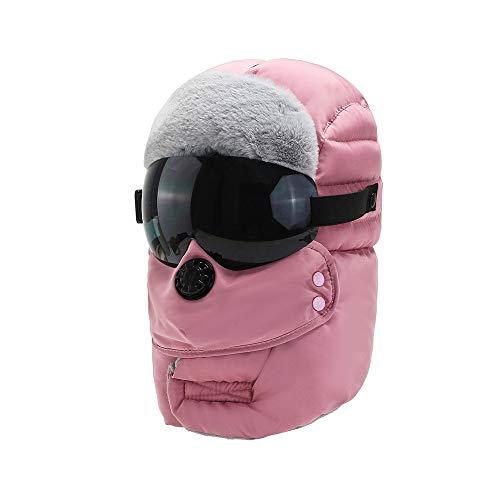 WSZDKA-WOMENBELT Chapka Homme Trappeur Bomber Casquettes avec Masque DéTachable Anti-Vent Anti-PoussièRe Unisexe Chapeau Chaud pour Ski Snowboard VéLo Moto 22-23,5 Pouces Rose (Lunettes Noires)