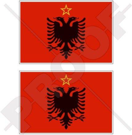 Albanien Albanische Flagge 1946–92Warschauer Pakt 10,2cm (100mm) Bumper Sticker, Aufkleber Vinyl X2