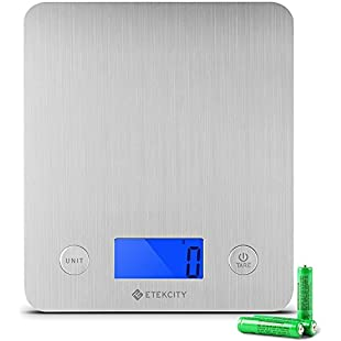 Customer reviews Etekcity Digital Kitchen Food Scales, Electronic Stainless Steel Weighing Cooking Scale with 30% Larger Platform & Backlight Display, 11lb/5kg, Ultra Slim Design, Silver