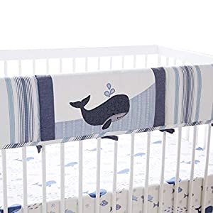Levtex Baby – Boho Bay Rail Guard- Whale – Navy, Blue, Grey and White – Nursery Accessories – Fits Long Side of Crib