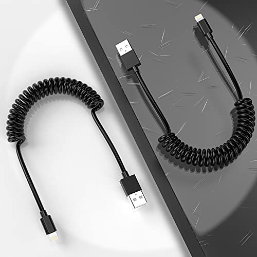 MTAKYI Cavo Lightning a spirale per auto confezione da 2 (4FT/1.2M), cavo di ricarica per iPhone retrattile certificato MFi Cavo di ricarica compatibile con iPhone 12 11 Pro Max XR XS X 8 7 6 Plus SE