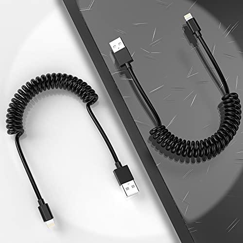 MTAKYI Coiled Lightning Cable Aufgerolltes Blitzkabel für Auto 2 Pack (4FT/1.2M), MFi-zertifiziertes einziehbares iPhone-Ladekabel Ladekabel Kompatibel...