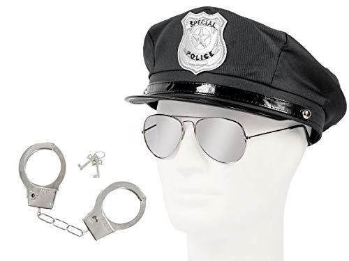 Alsino Polizei Outfit Karneval Verkleidung (Kv-122) Polizeimütze   Pilotenbrille und Handschellen