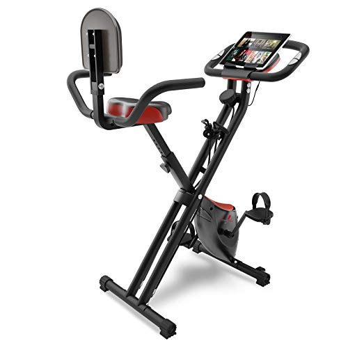 Sportstech F-Bike X100 fitness bike with intelligent resistance band system 4 KG inertia - exercise indoor bike with tablet holder 4 levels - two-way magnetic brake foldable (with backrest)