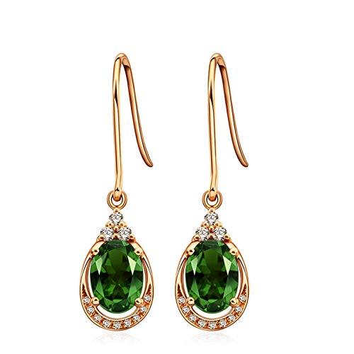 KnSam Boucle d'Oreille Femme Fine Tourmaline Vert Naturelle 1.3ct, Or Rose 18 Carats Élégance Cadeau Noël