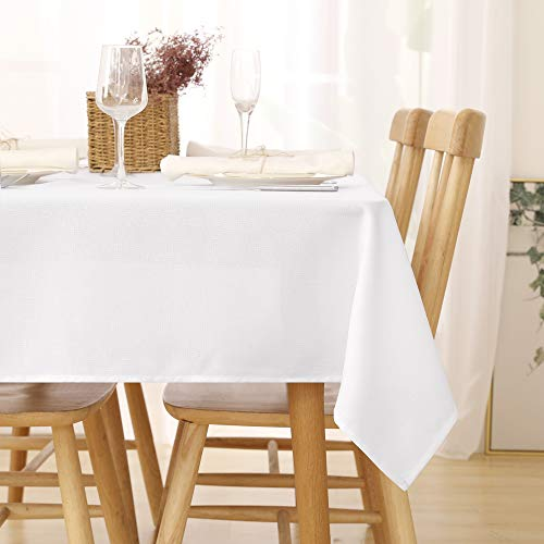 Deconovo Manteles de Mesa Rectangular Efecto Lino para Cocina 140 x 300 cm Blanco