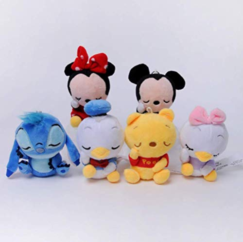 zhengboasd Peluches, Winnie The Pooh Mickey Mouse Minnie Peluches De Peluche Muñeca De Peluche Llavero Lilo Y Stitch Piglet Toy Kid Girl Gift 15cm 6 Pc