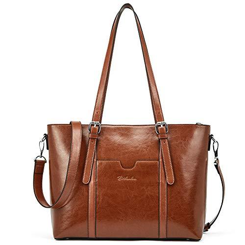 BOSTANTEN Damen Ledertaschen Schultertasche Frauen Designer Handtasche 14 15.6 Zoll Laptoptasche Tote Bag Braun