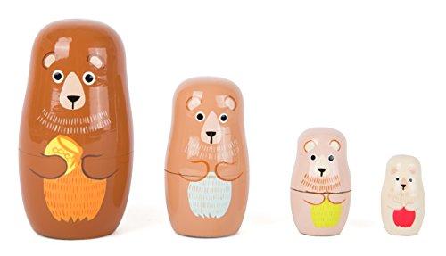 Small Foot 10621 Matrjoschka-Bärenfiguren aus Holz in Vier verschiedenen Größen und Farben, schult die Hand-Augen-Koordination und eignet Sich als Dekoration