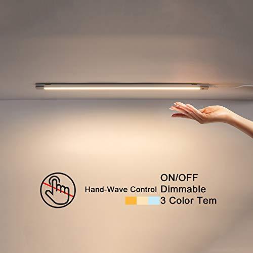 Temgin Luz LED Armario con Sensor Movimiento 5W Regulable Luz Mueble Cocina Dimmable 30CM Lámpara Nocturna Aluminio para Gabinete Pasillo Escalera