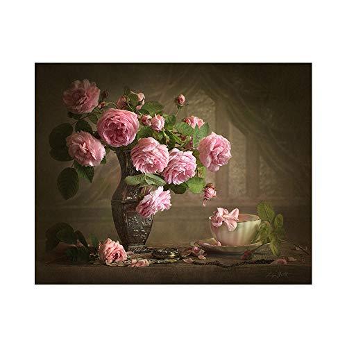 xdai DIY Malen nach Zahlen für Erwachsene Ölgemälde Kit für Kinder Anfänger,Vintage rosa Blumen Leinwand Weihnachten Geschenk Heimdekoration Ohne Rahmen-50x60cm