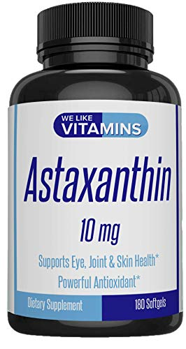 Astaxanthin - New 10mg Softgel - 180 Soft gels - Astaxanthin Supplement 6 Month Supply Antioxidant Helps Support Exercise Recovery, Eye, Joint, Skin Health