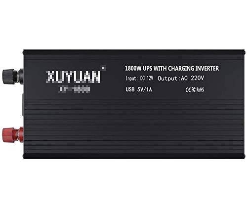 Convertidor de voltaje 1300W / 1500W / 1800W Inverter de onda sinusoidal pura 12V 24V a 220V, inversor de automóviles con conexiones USB Incl. Sockets de la universidad para computadora portátil, pad,
