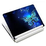 Laptop-Aufkleber für Laptops von Toshiba, HP, Samsung, Dell, Apple, Acer, Leonovo, Sony, Asus, 30,5 cm, 38,6 cm, 39,6 cm, Blau mit Schmetterlingen