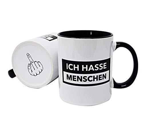 Close Up Lustige Tasse - Ich Hasse Menschen - mit Bodendruck Mittelfinger - Geschenk für Misanthropen, Kollegen, Freunde, Morgenmuffel - weißer Kaffeebecher innen & Henkel schwarz