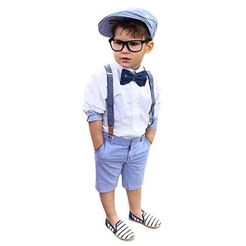 2 Pcs Kleinkind Jungs Shirt + Shorts Hosen Set Gentleman Party Passen